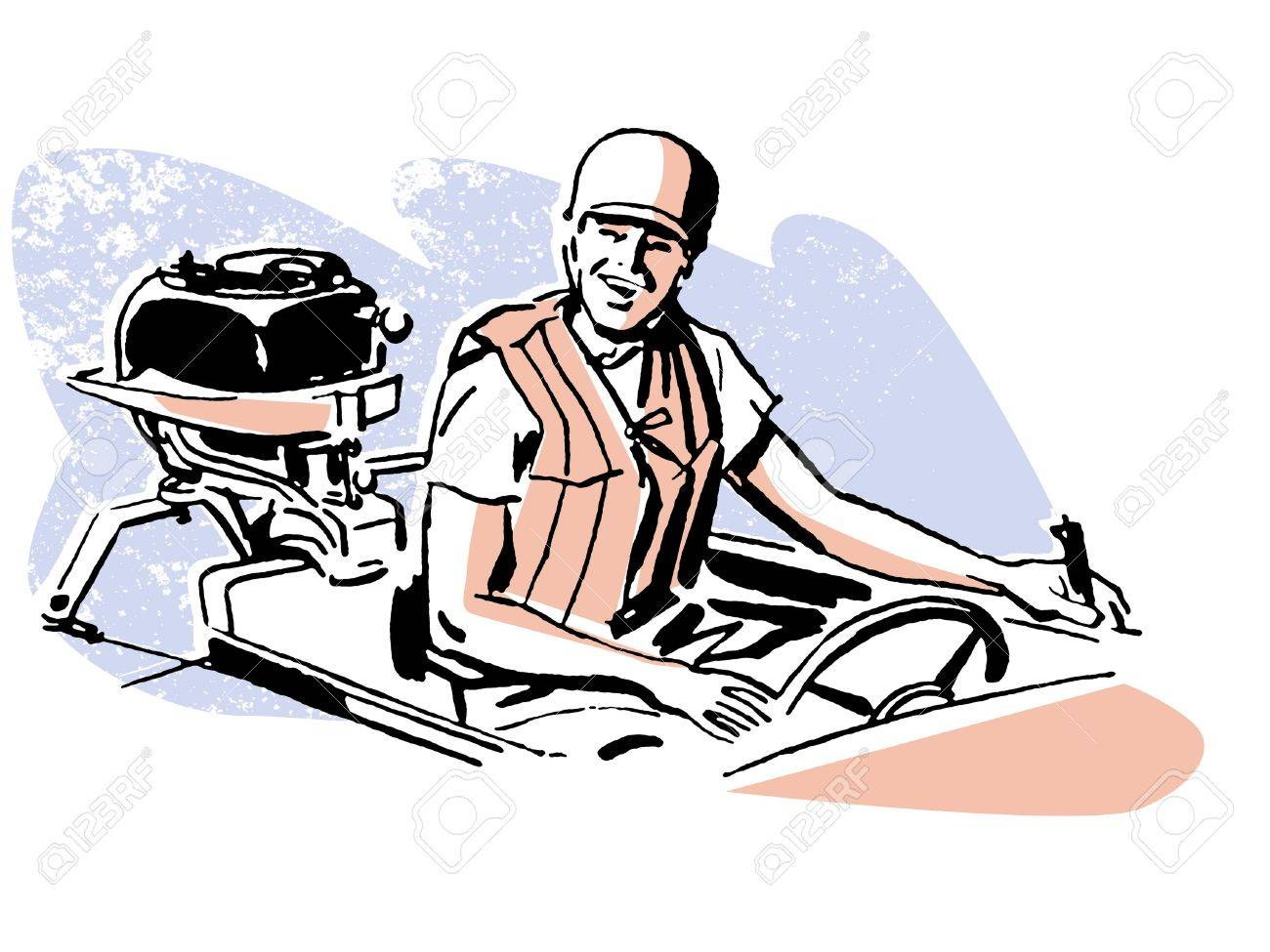 A vintage illustration of a man driving a boat Stock Illustration - 14918231