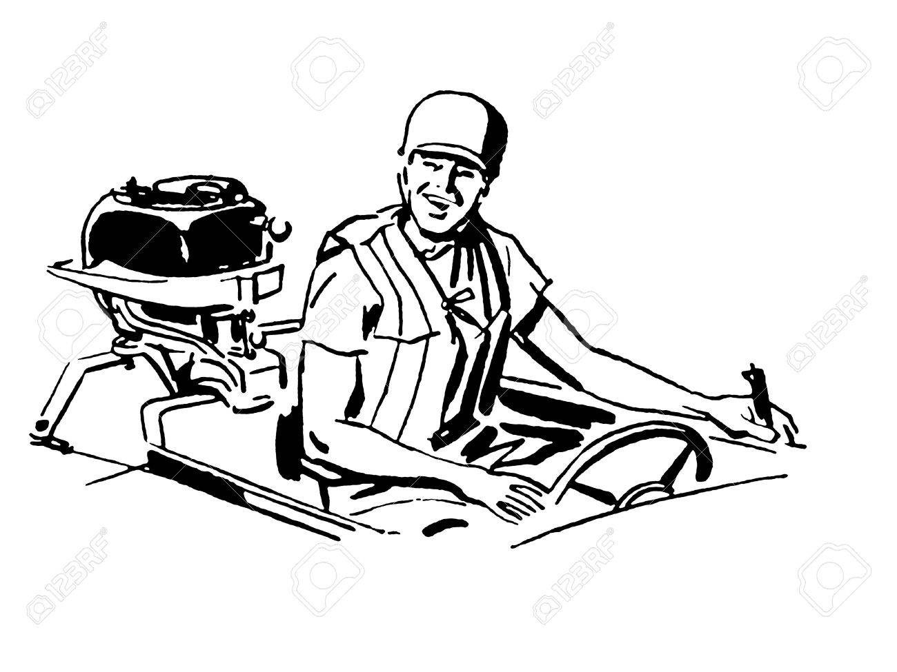A black and white version of a vintage illustration of a man driving a boat Stock Photo - 14917709