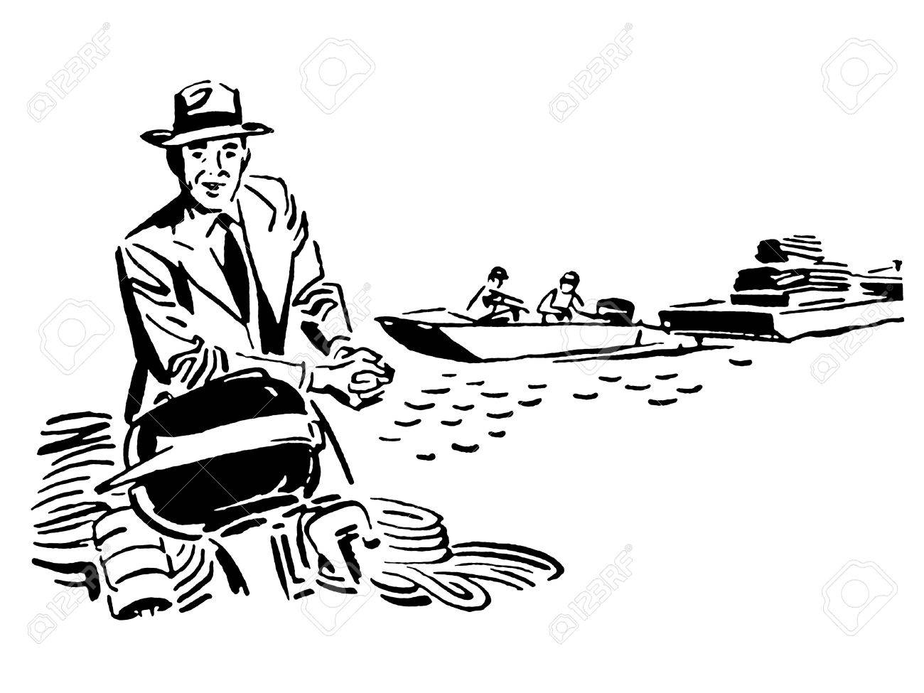 A black and white version of a vintage illustration Stock Photo - 14917910