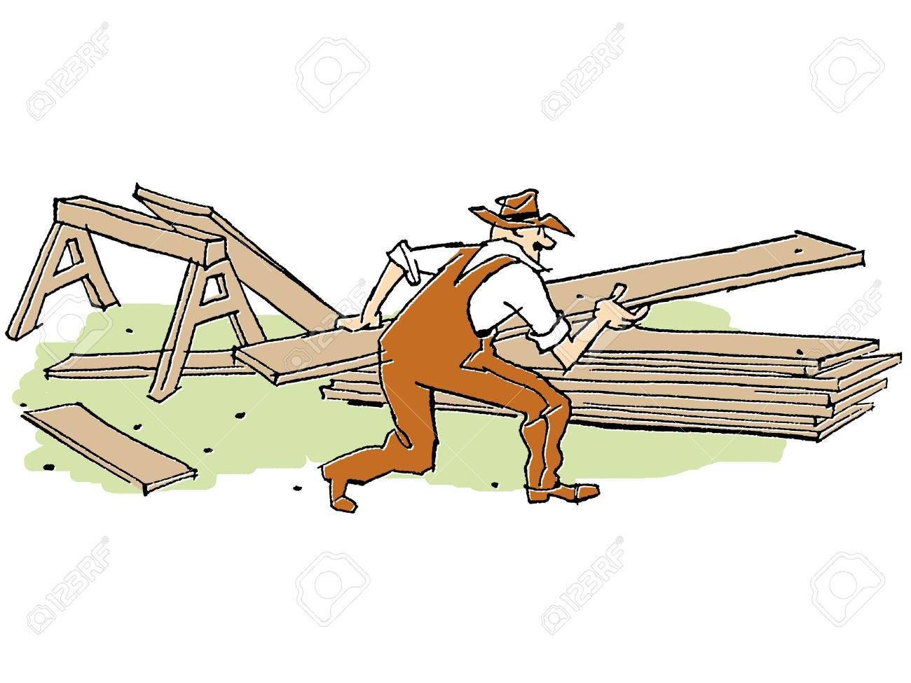 An illustration of a man doing construction Stock Illustration - 14918182