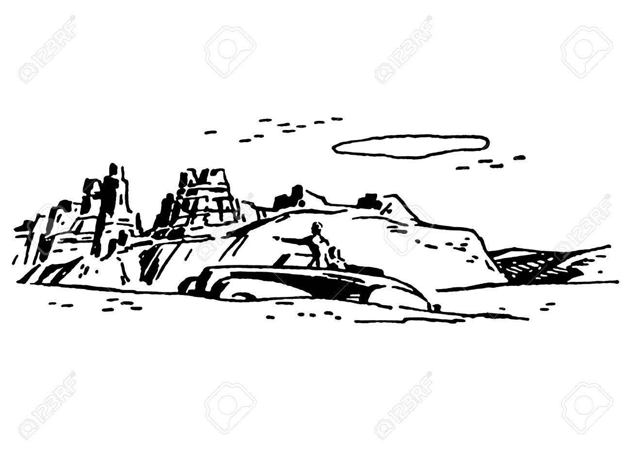 A black and white version of a vintage illustration of the American desert Stock Photo - 14917346