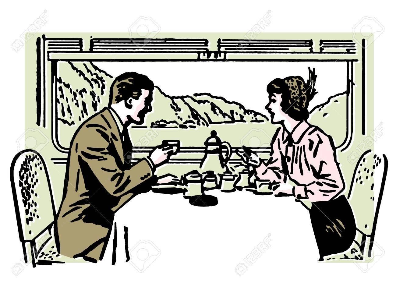 鉄道レストランでカップル ダイニングのヴィンテージのイラスト