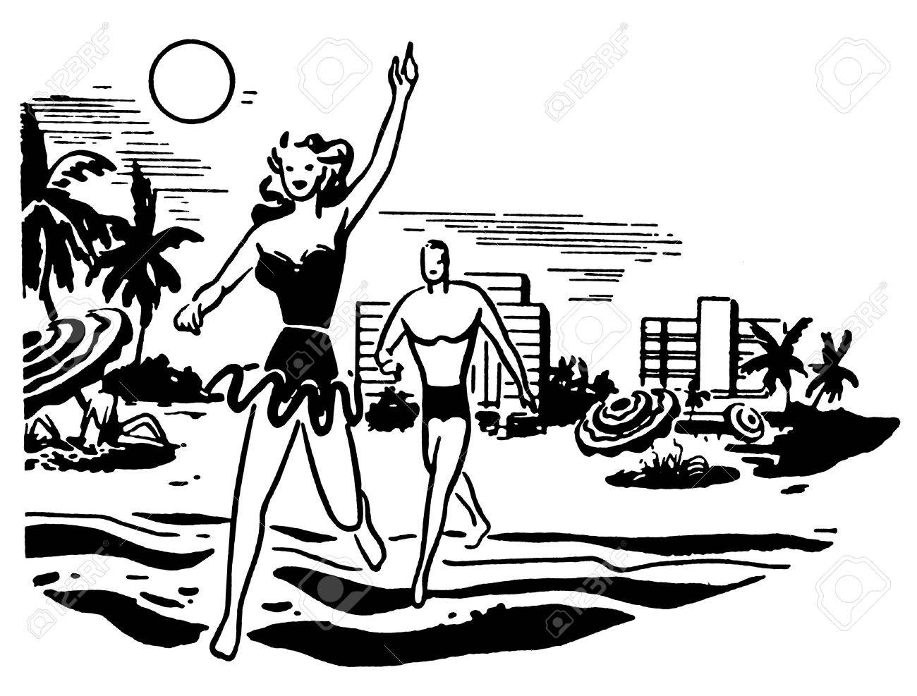A black and white version of an illustration of a couple having fun in the sun on vacation Stock Illustration - 14918264
