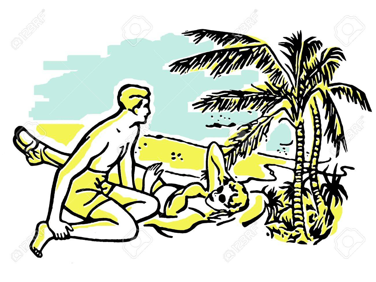 An illustration of a couple having fun in the sun on vacation Stock Illustration - 14918419