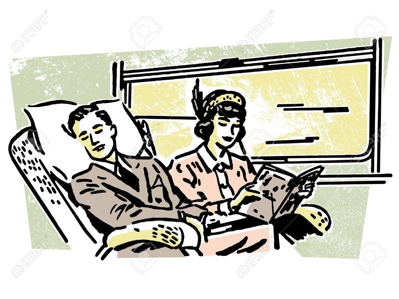 電車の中で人々 のヴィンテージのイラスト ロイヤリティーフリーフォト