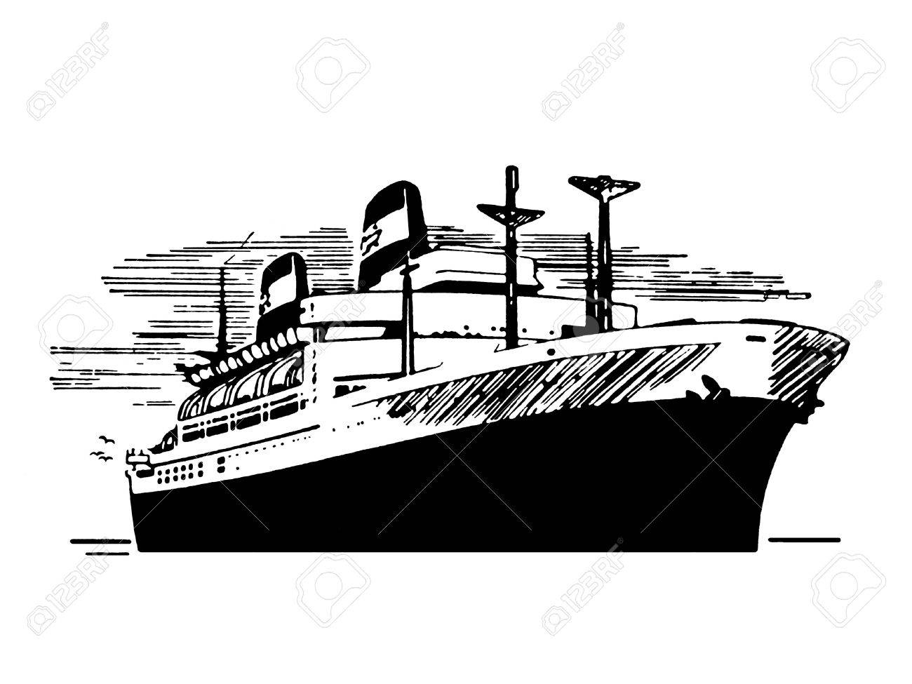 A black and white version of a vintage illustration of a ship Stock Illustration - 14917937