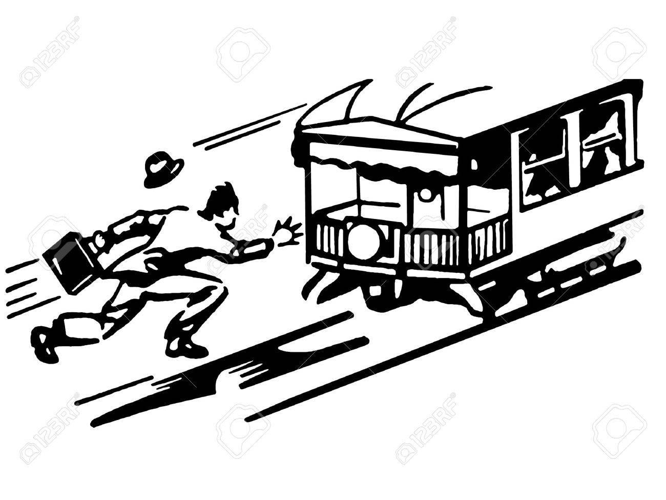 路面電車を実行している男のヴィンテージのイラストの黒と白のバージョン