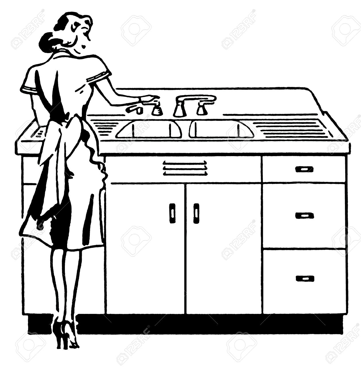 A Black And White Version Of A Vintage Illustration Of A Woman ... for Kitchen Sink Clipart Black And White  588gtk