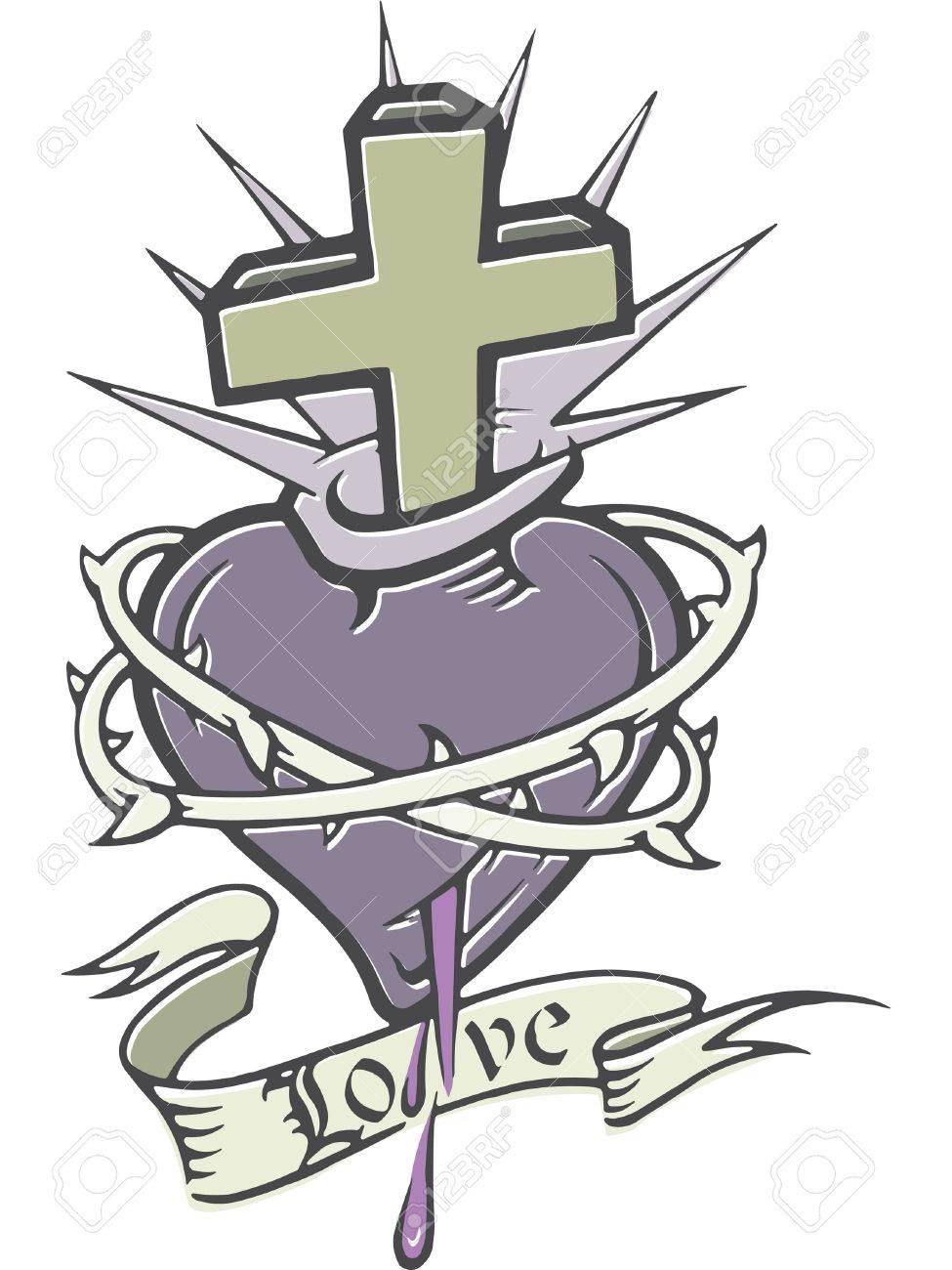 A stencil of a bleeding heart with thorns a cross and a banner a stencil of a bleeding heart with thorns a cross and a banner stock photo buycottarizona