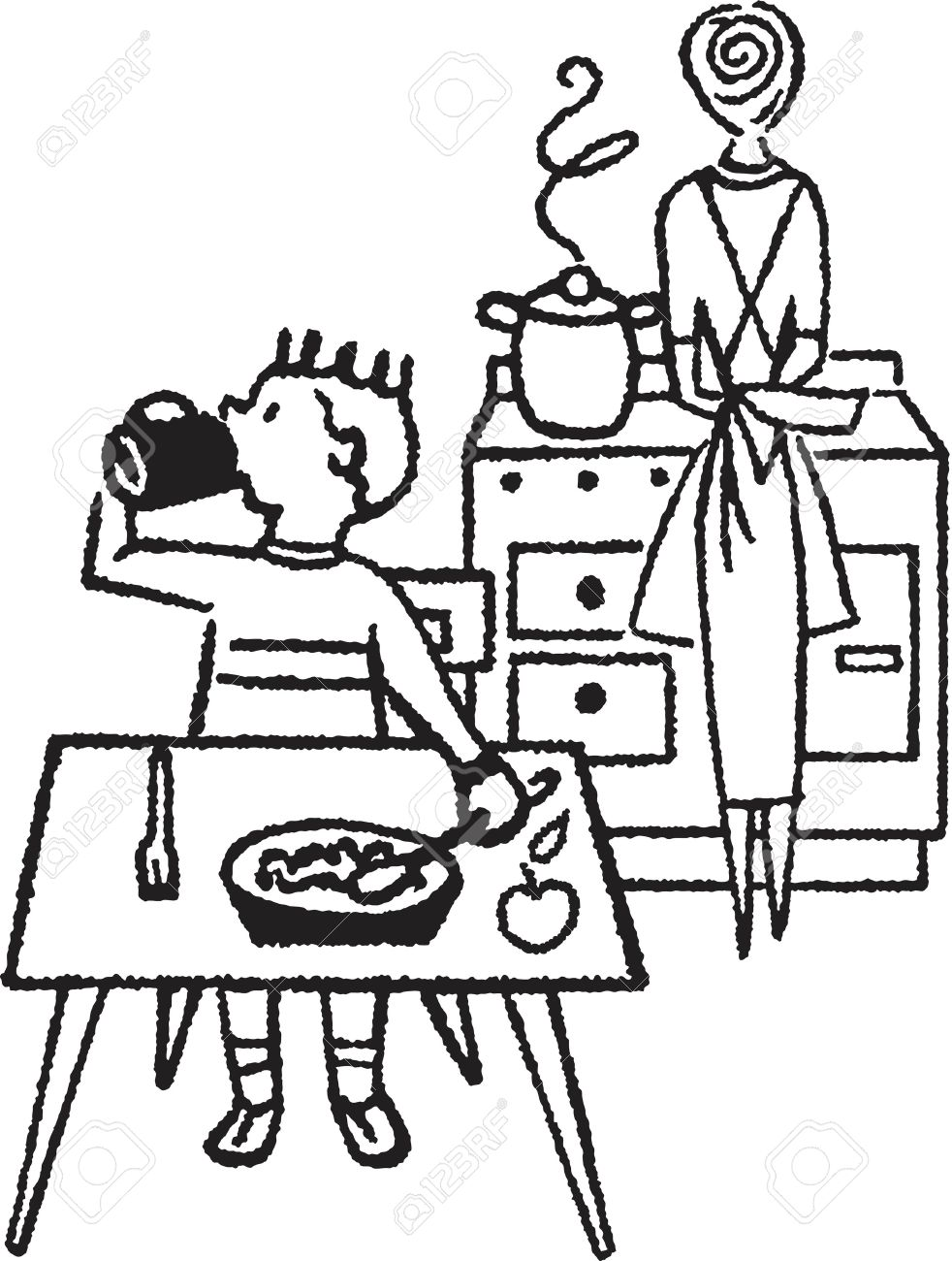 kitchen table clipart black and white. a black and white version of young boy eating at table with his mother kitchen clipart e