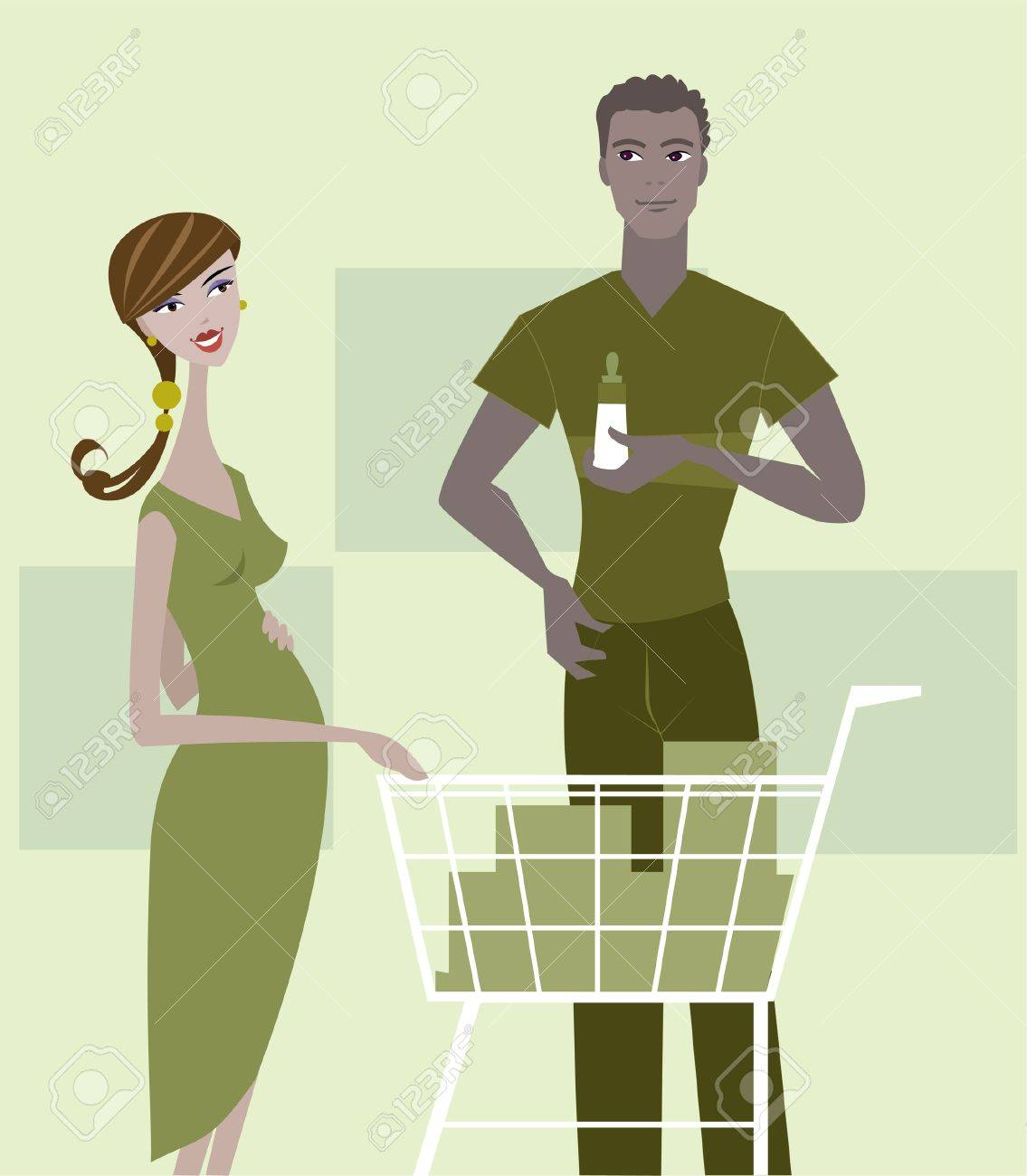 A pregnant woman and man shopping for baby items Stock Photo - 15207697