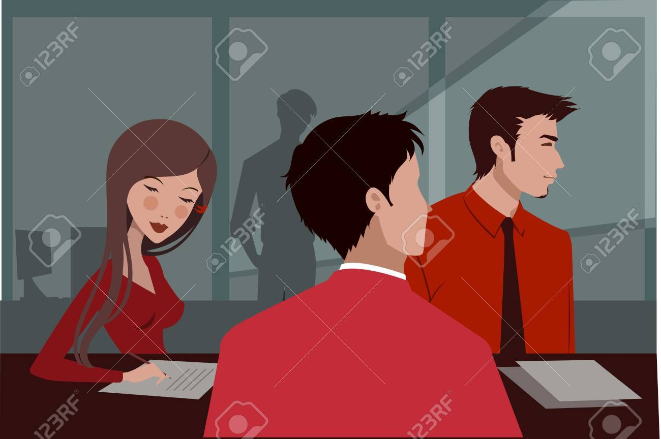 Three people in red clothing at a business meeting Stock Photo - 15207698