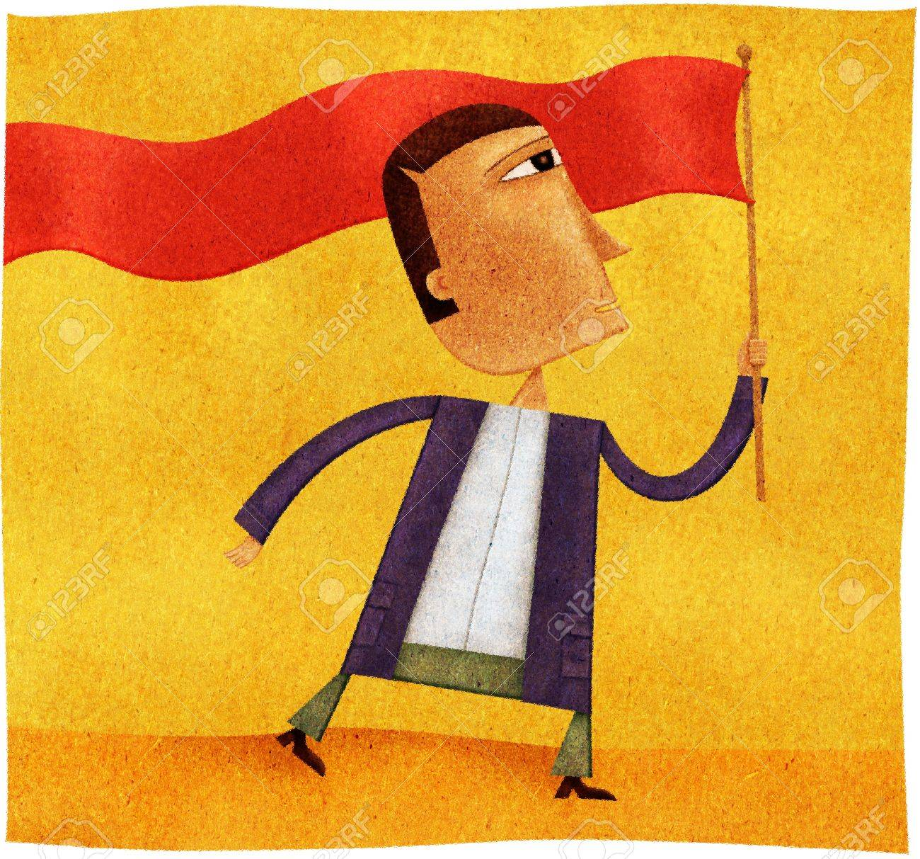 A man waving a long red banner flag Stock Photo - 15209477