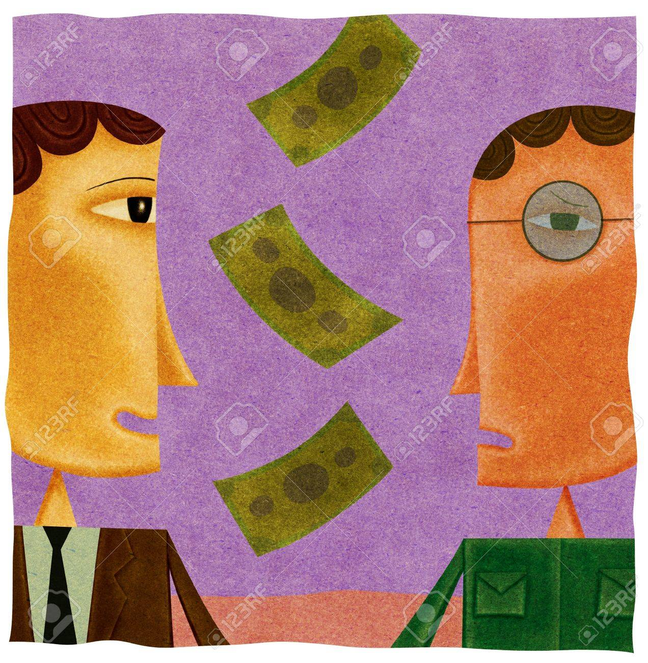 Money falling between a happy businessman and a worried man Stock Photo - 15209482
