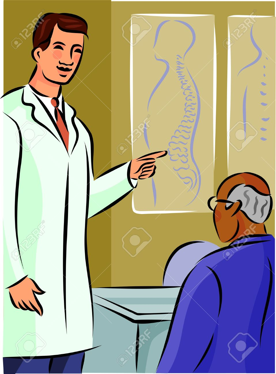 doctor showing his patient a diagram of the spine diagram of hospital diagram of doctor #8