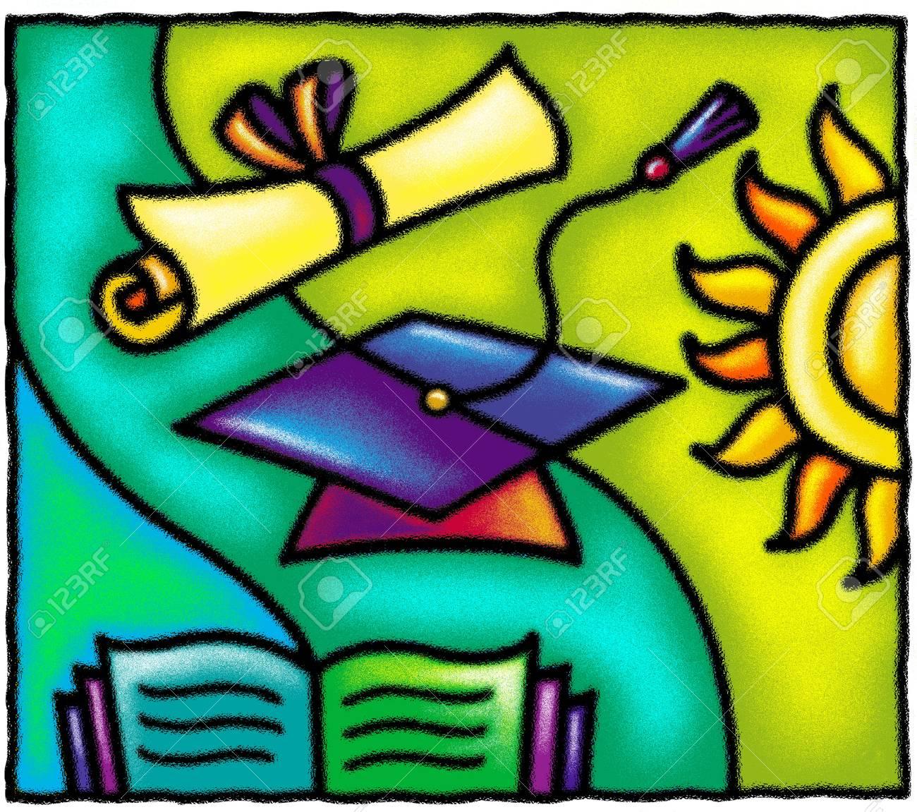 A graduation cap; diploma; book; and sun Stock Photo - 15209529
