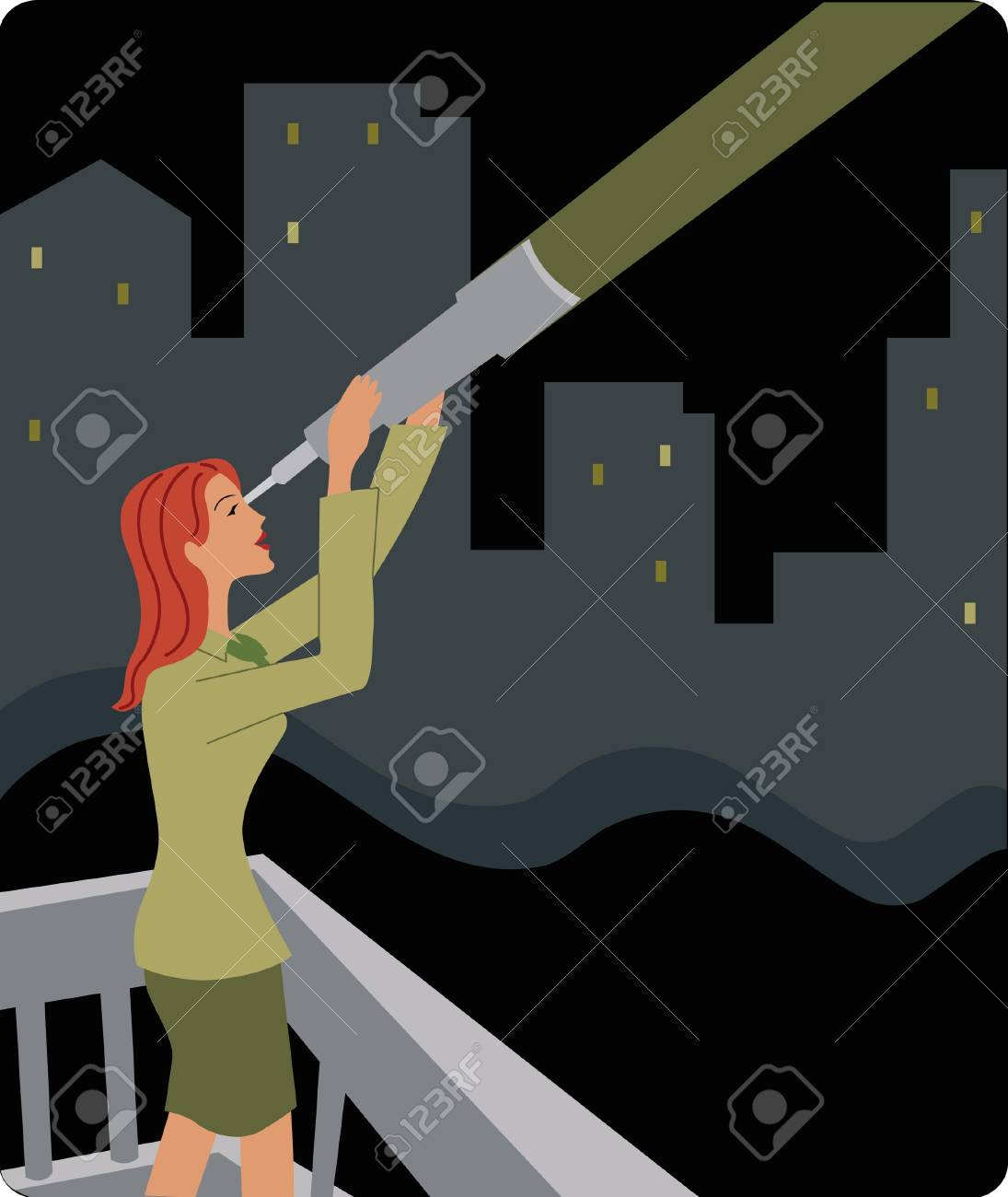 Businesswoman looking through a telescope Stock Photo - 15207559
