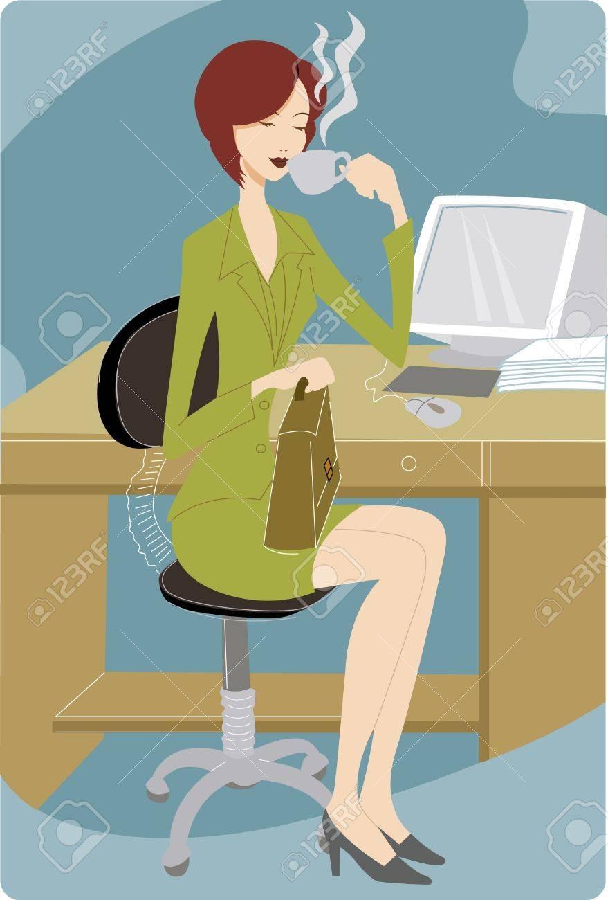 Businesswoman taking a coffee break at her desk Stock Photo - 15208183