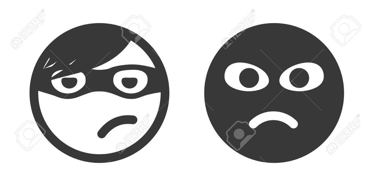 Establece Ladrón Icono Sonriente. Ejecutante Robo. Emoticon Ladrón ...