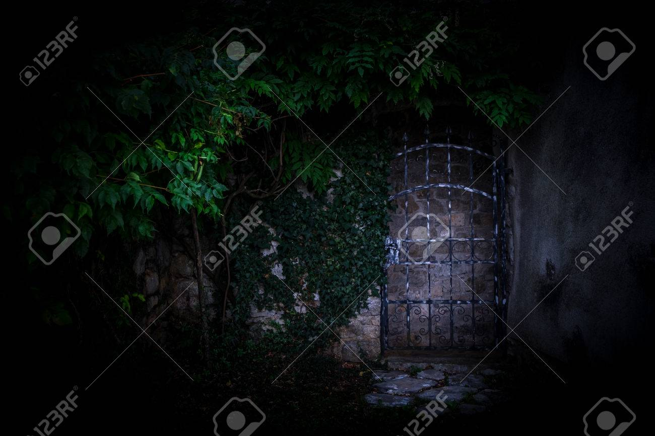 Old Metal Gate To The Secret Garden Covered With Green Ivy Stock