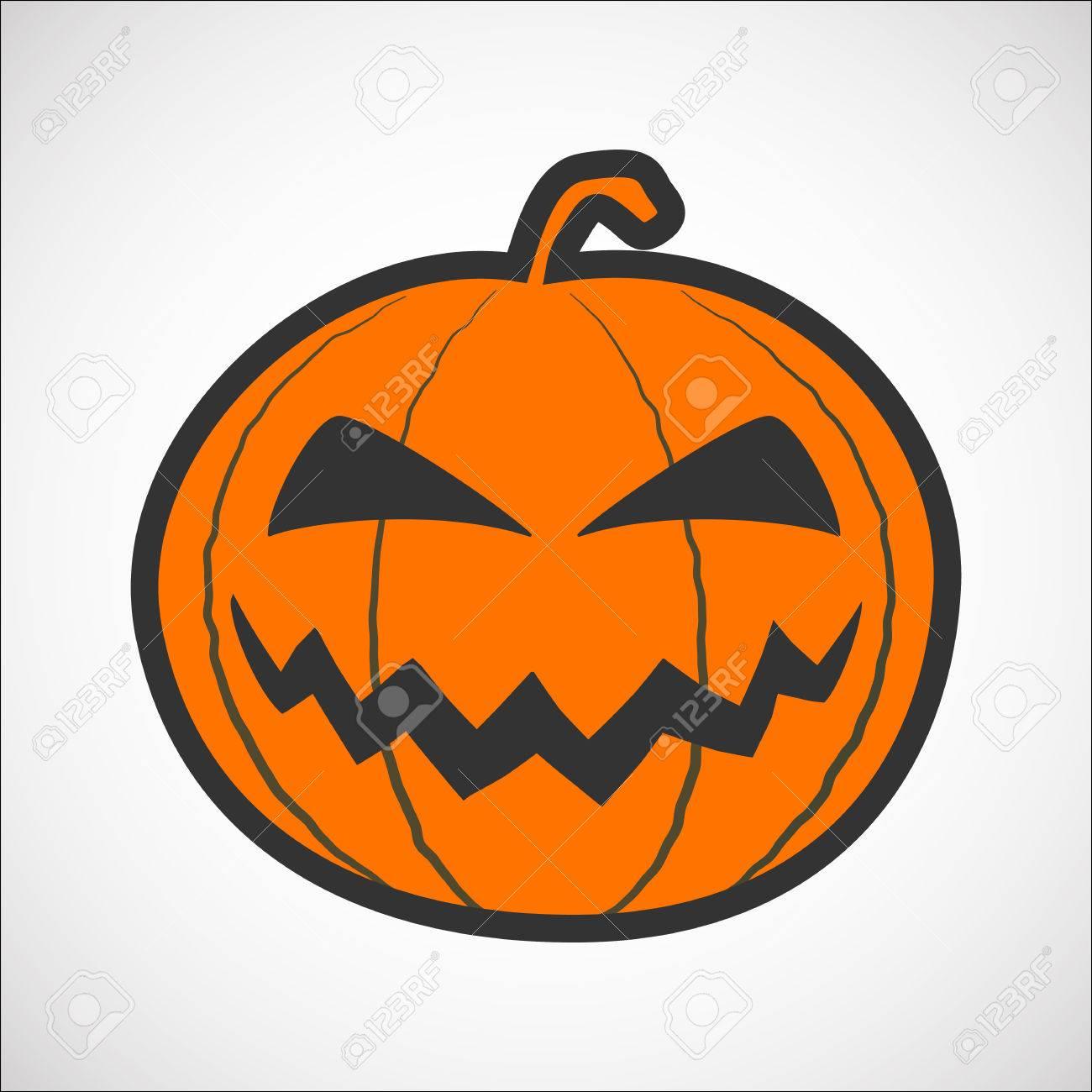 Pompoen Halloween.Halloween Pompoen Kleur Pictogram Pompoen Sticker Voor De Happy Halloween Vakantie Geisoleerde Vector Illustrationon Op Witte Achtergrond