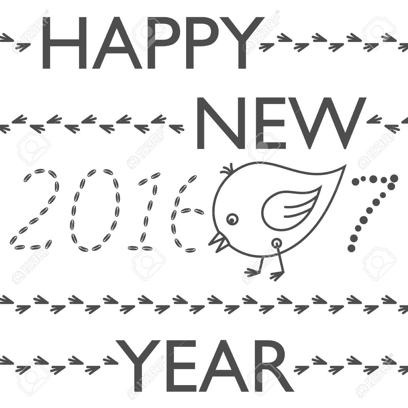 Happy New Year Greeting Card. Year Of Rooster. Cute Funny Chicken ...