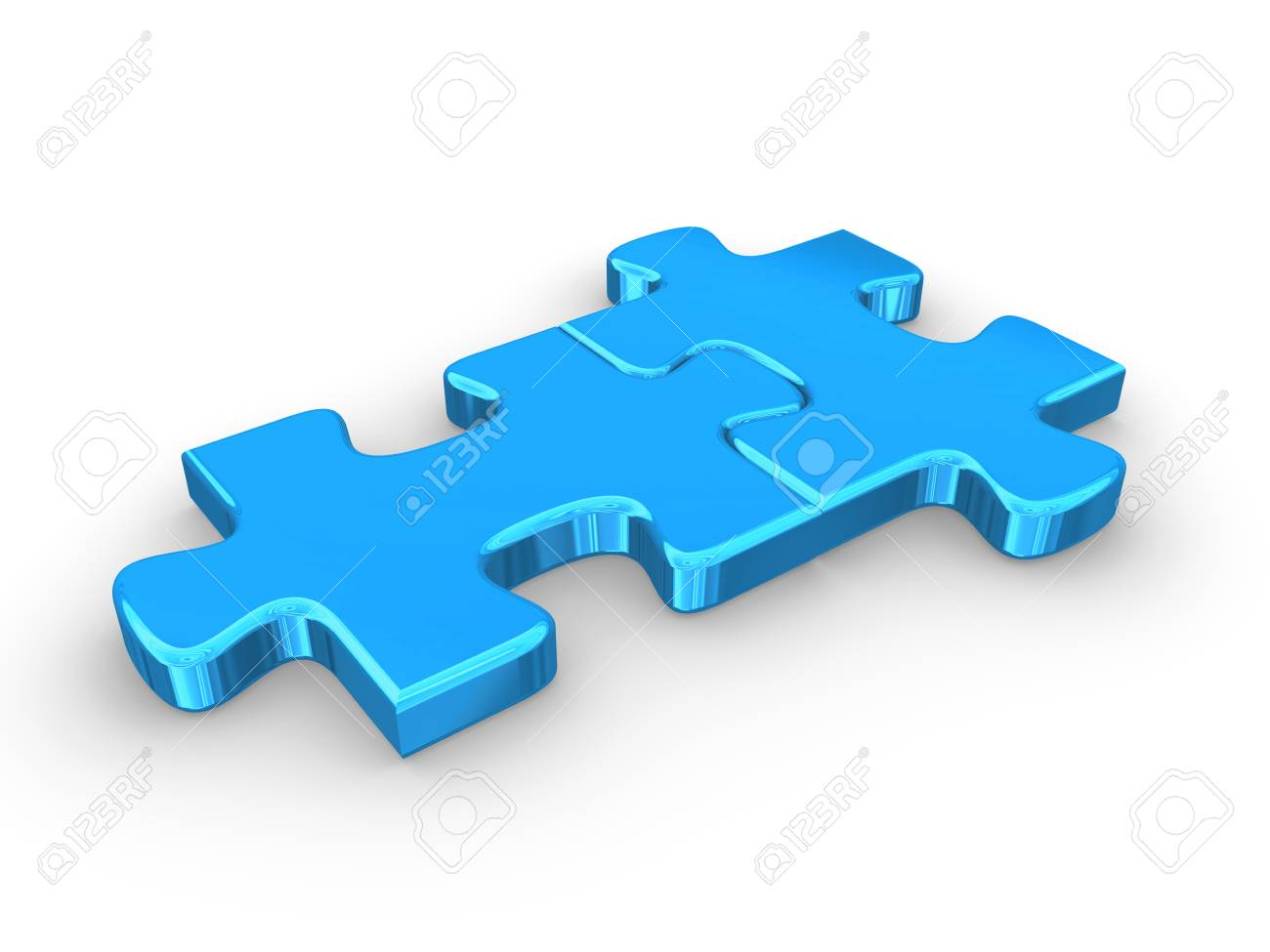 2 Connected Blue Puzzle Pieces 3d Rendered Illustration Stock
