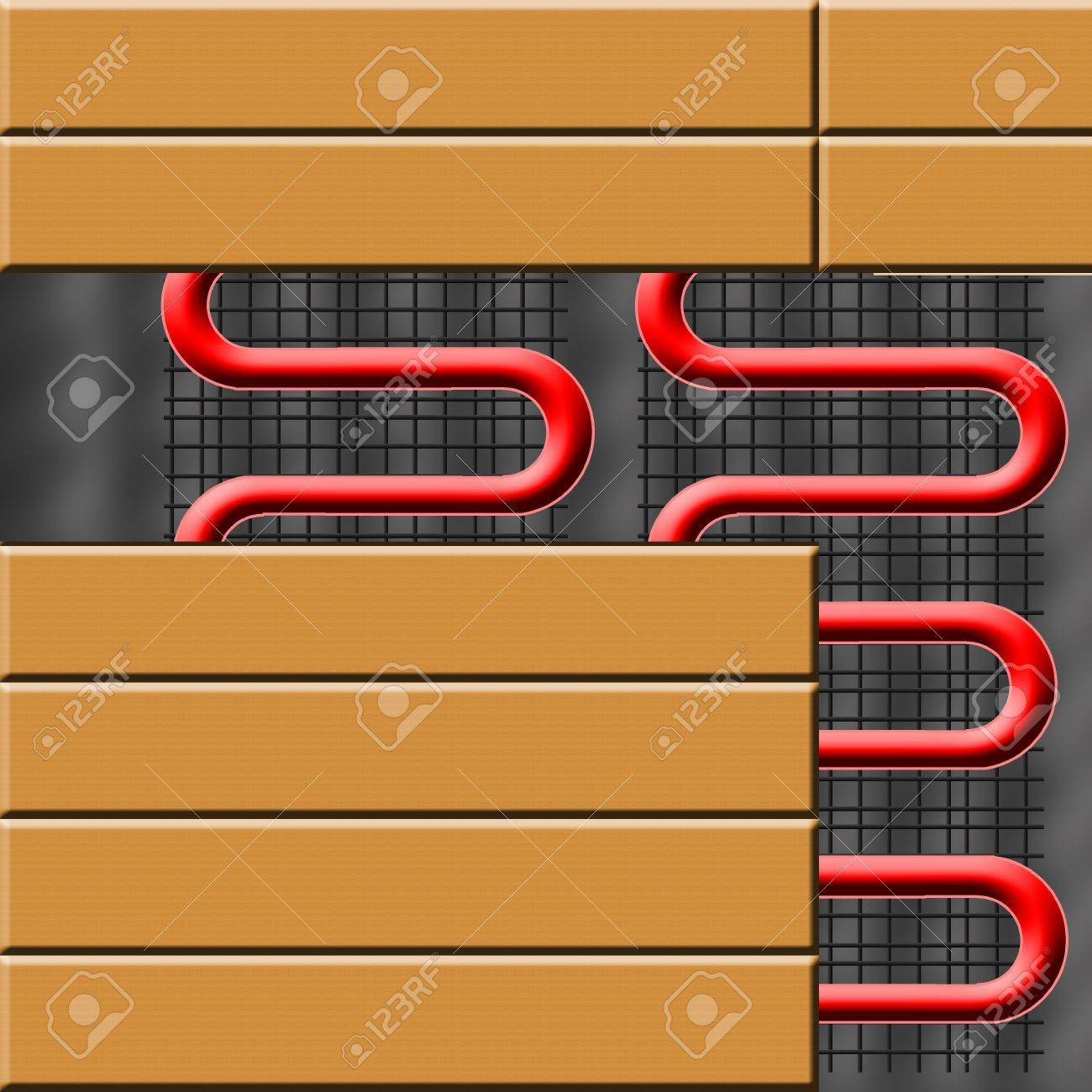 Floor Heating System Under Ceramic Tiles Stock Photo Picture And