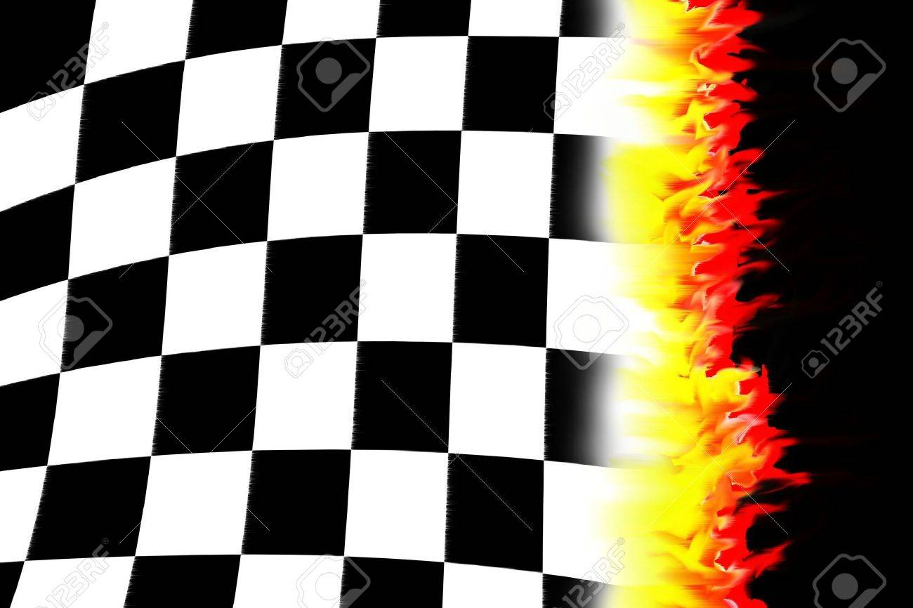 illustration of the burning checkered racing  flag Stock Illustration - 6047683