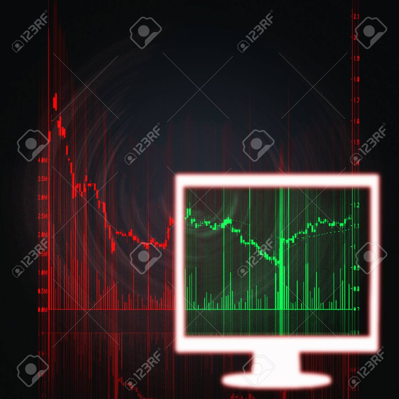 illustration of the red and green stock market chart Stock Illustration - 6169833