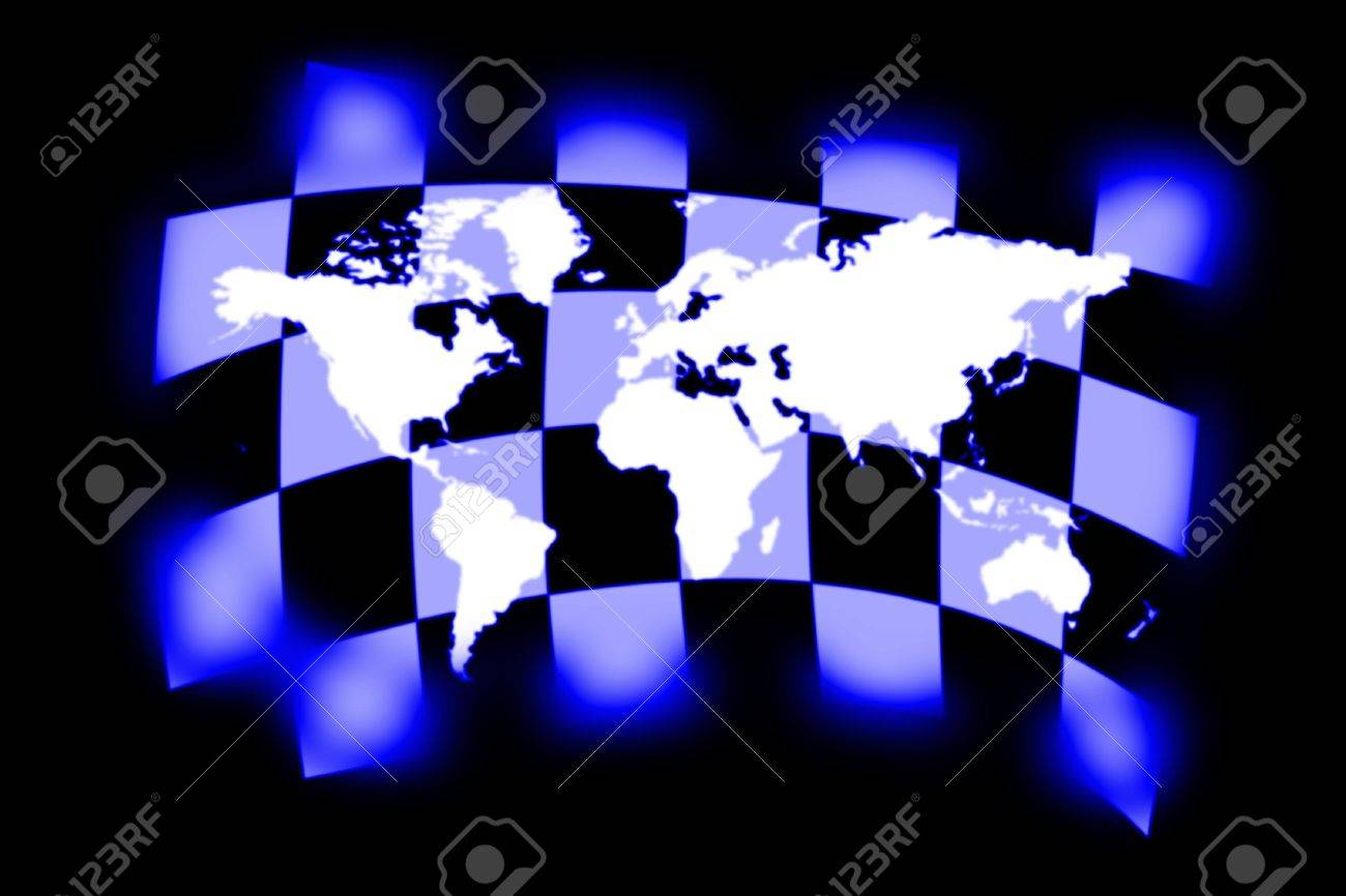 illustration of the checkered flag and world map Stock Photo - 6427631