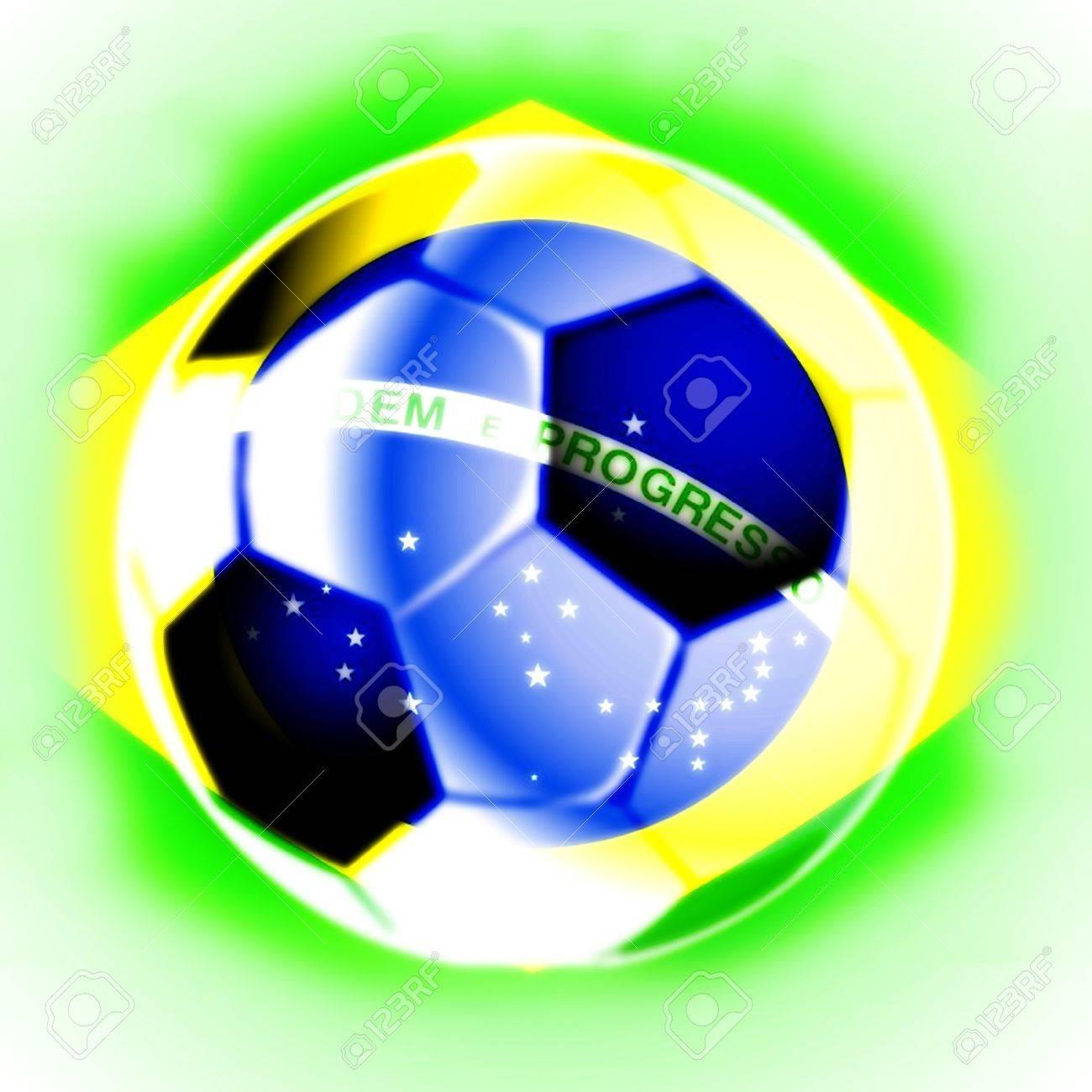 illustration of black and white brazil football soccer ball Stock Illustration - 6976881