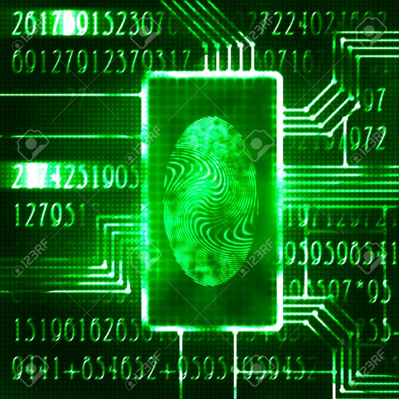 finger print and digital code futuristic illustration Stock Illustration - 14619206