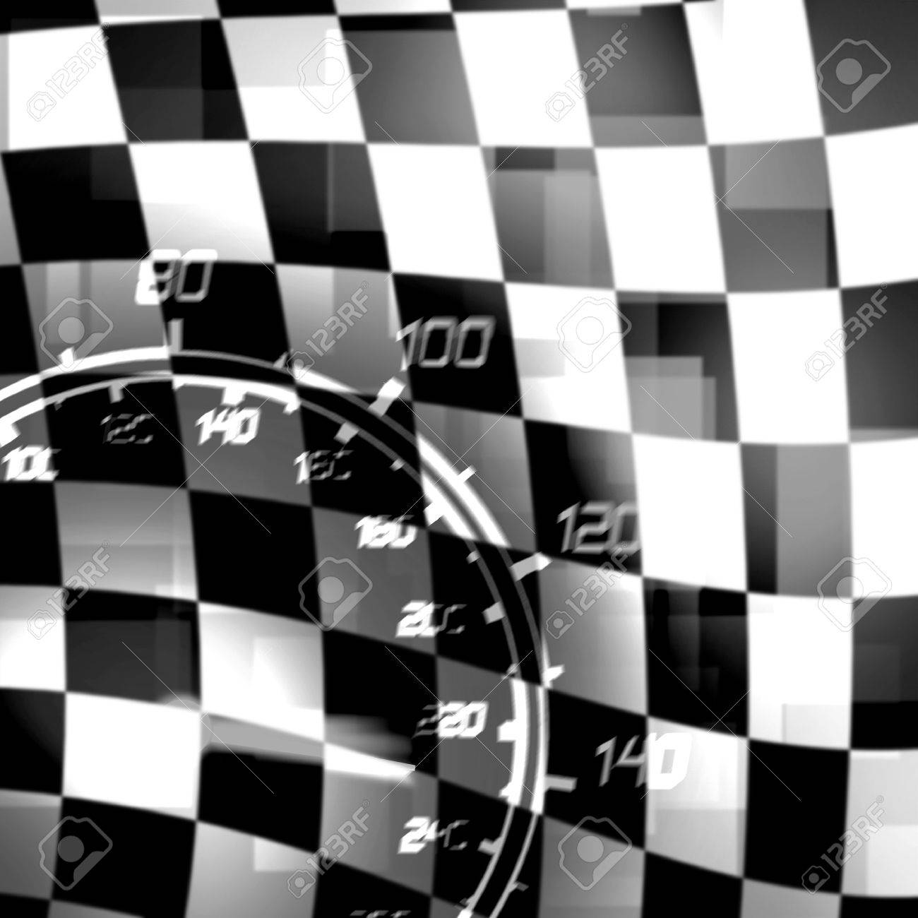 racing flag and speedometer black white illustration Stock Illustration - 17113304