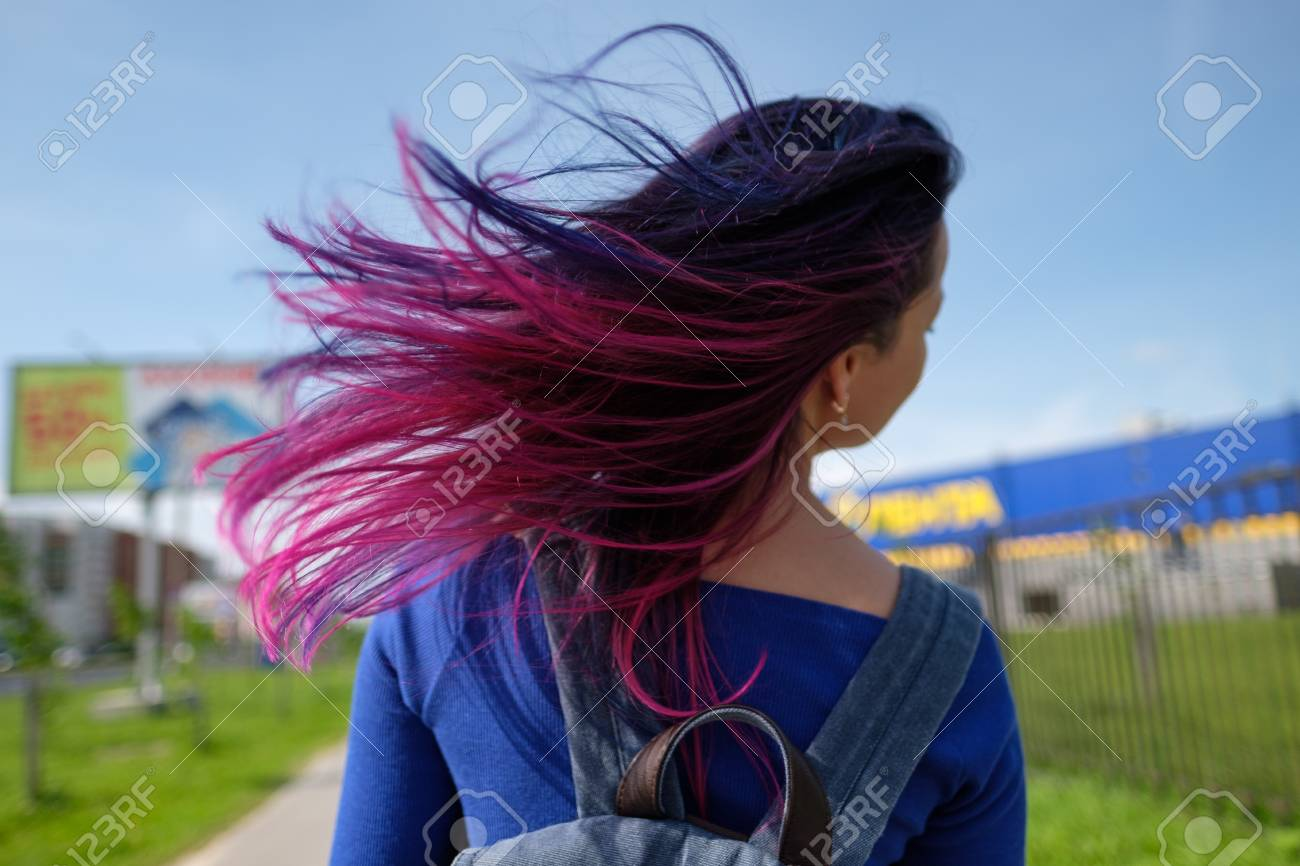Girls with colored hair  Colored hair coloring, blue pink purple,