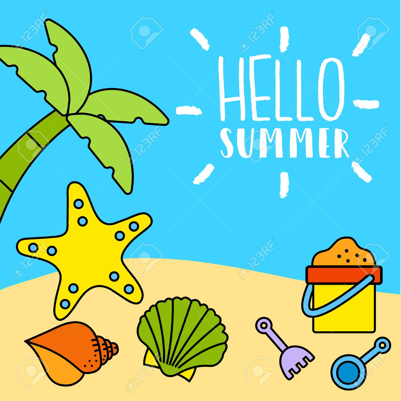Gentil Real Cool Hello Summer Background. Vector Illustration Stock Vector    74063558