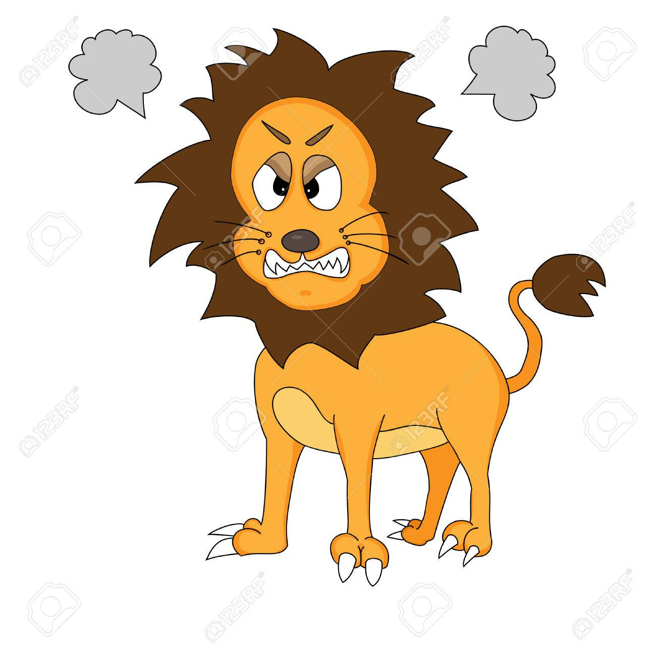 Angry Cute Cartoon Lion Stock Vector - 4348601