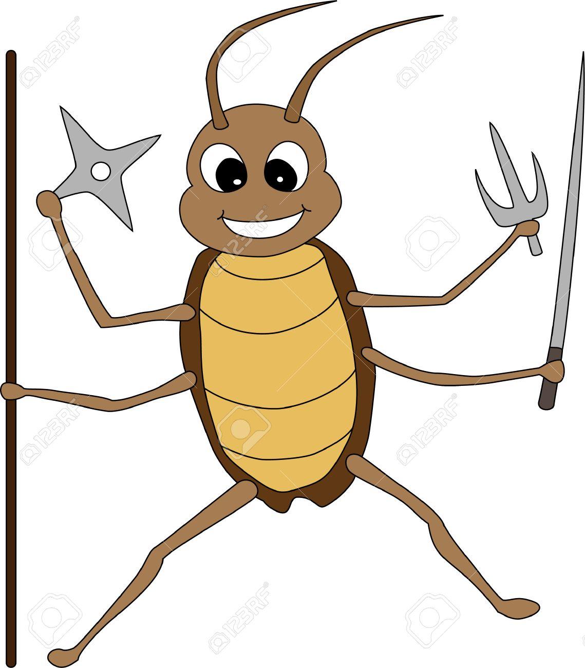 かわいい漫画の戦いのゴキブリのイラスト素材ベクタ Image 4382938