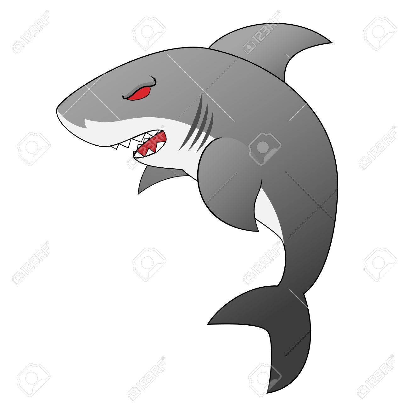 Angry Looking Cartoon Shark With Menacing Sharp Teeth And Red Eyes Stock Vector - 4450195