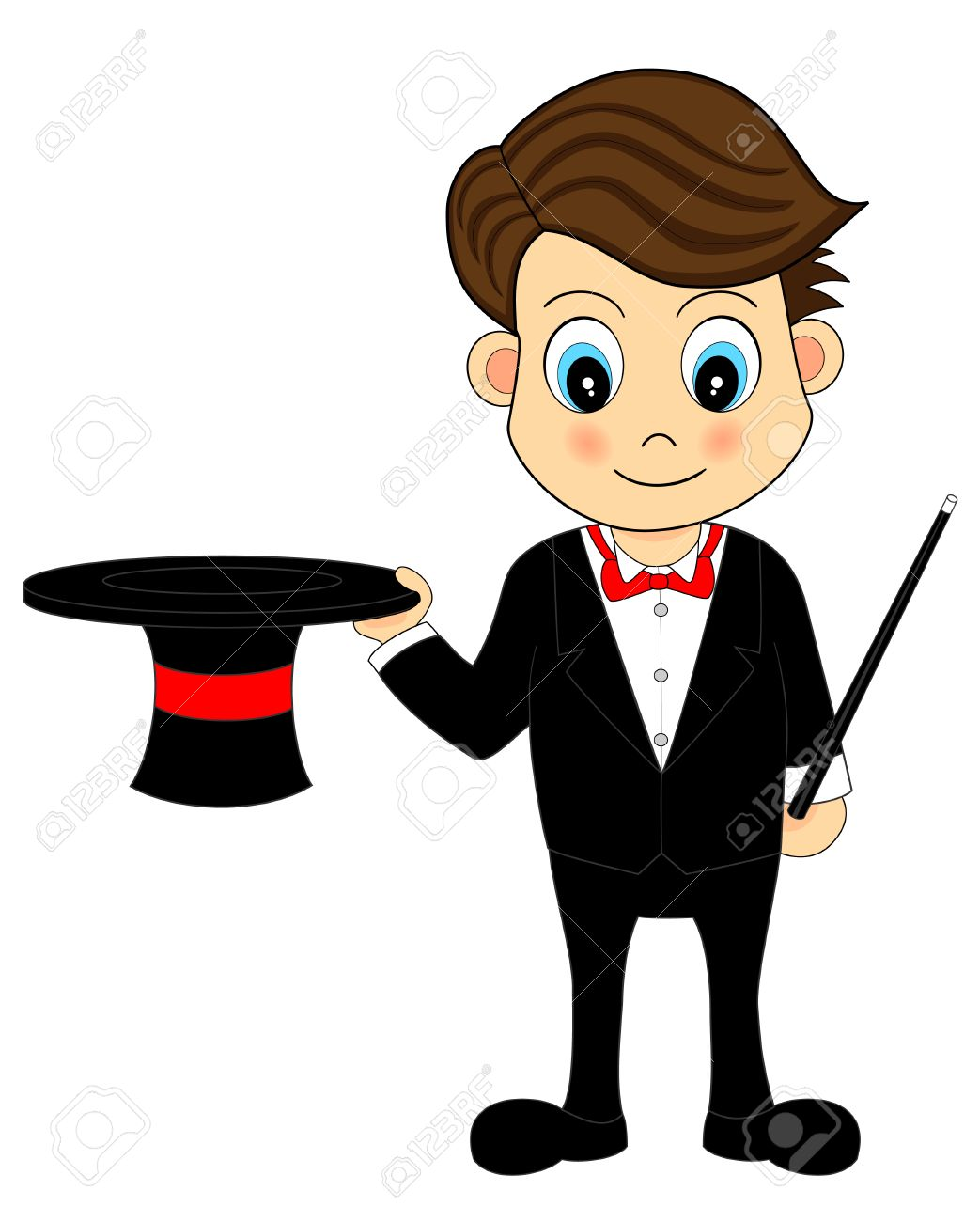 Cute Cartoon Magician With Hat and Wand - 4997835