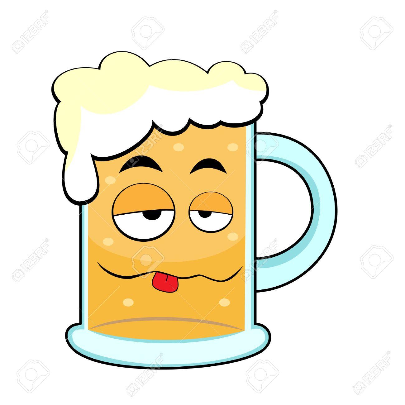 かわいい酔ってビールのジョッキのイラスト素材 ベクタ Image
