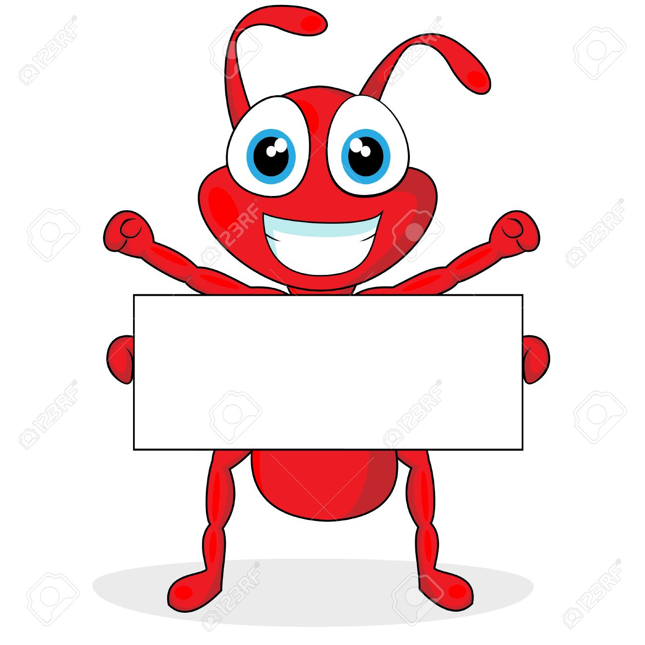 cute little red ant with blank sign Stock Vector - 8285825