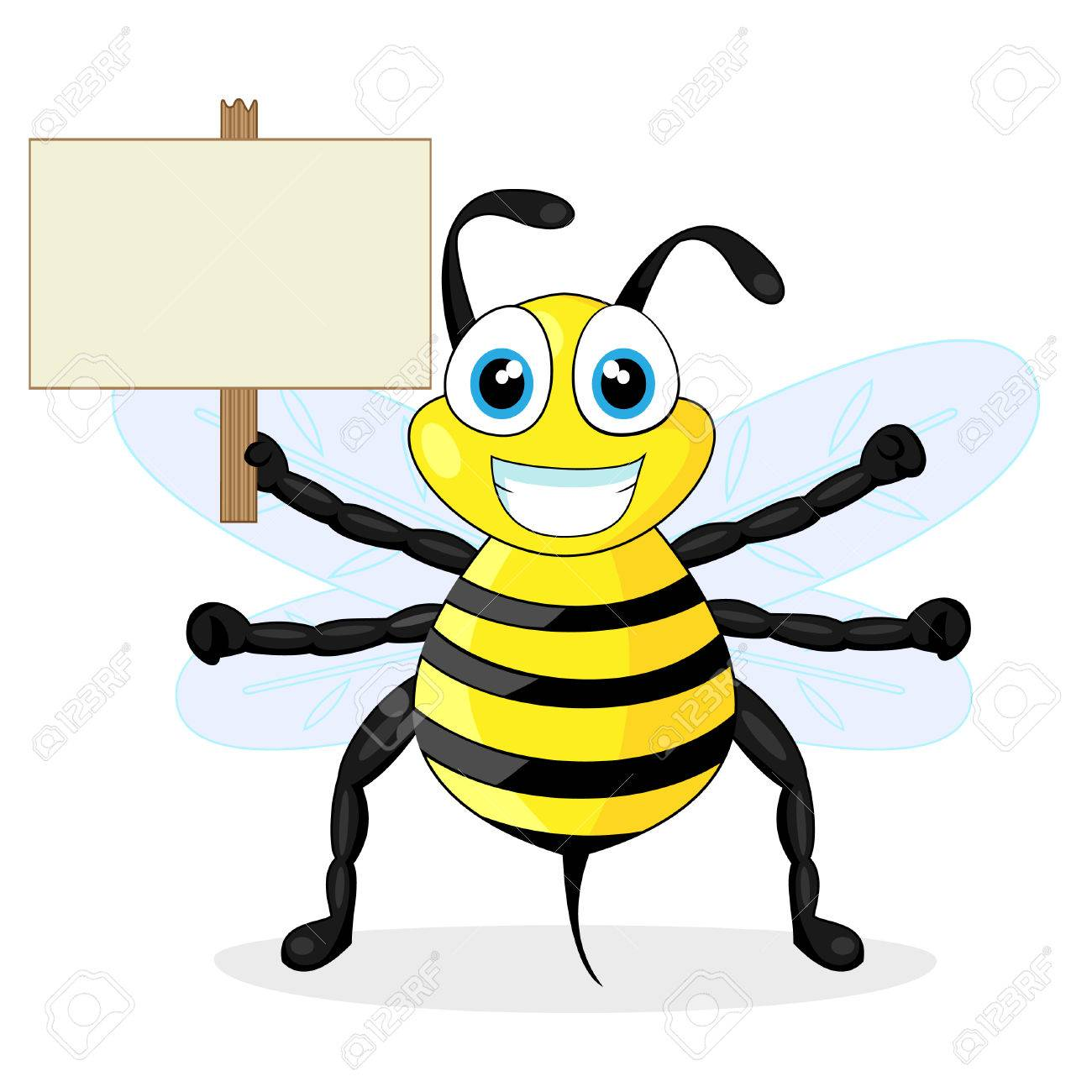 cute bee holding wood sign Stock Vector - 8285834