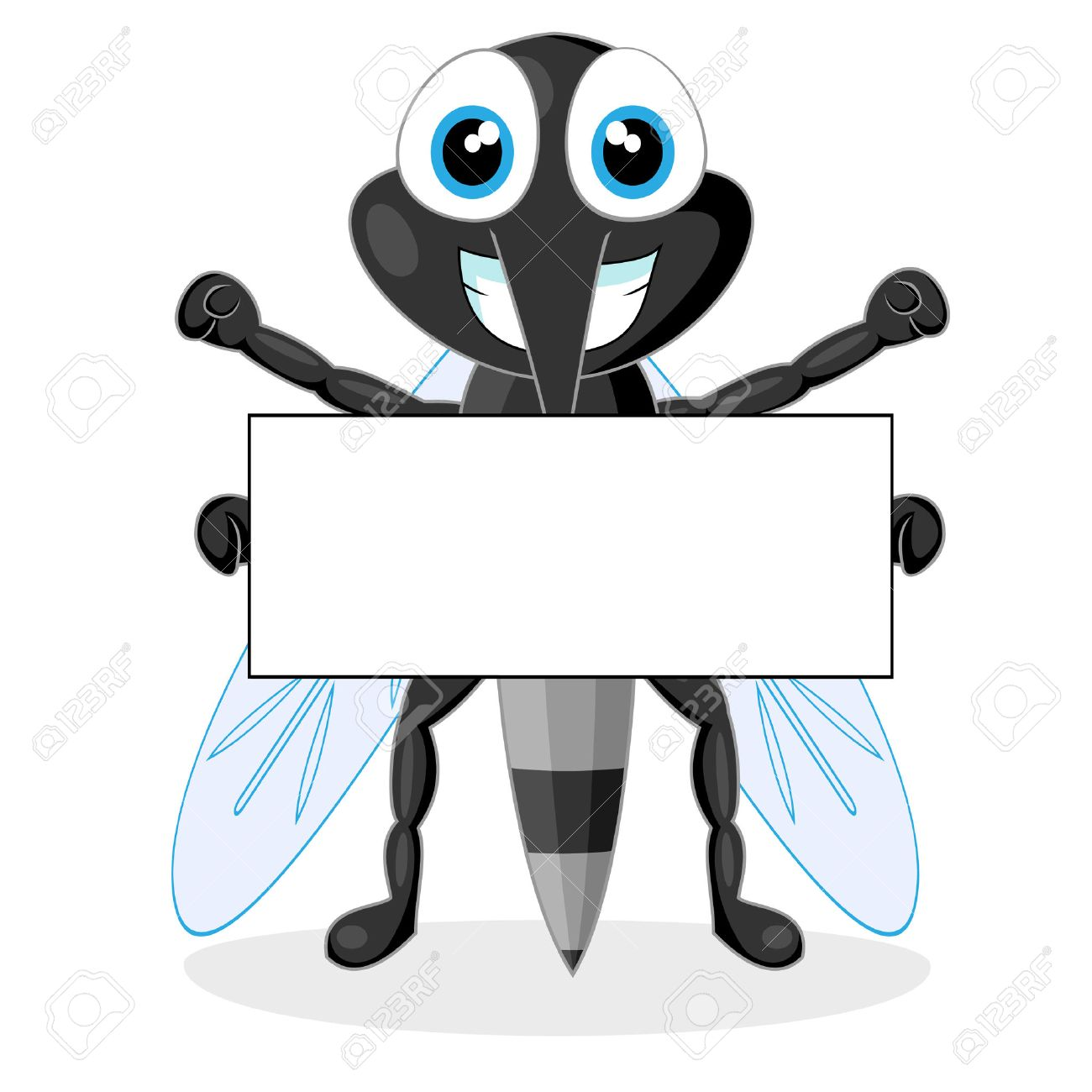 cute mosquito with blank sign Stock Vector - 8367437