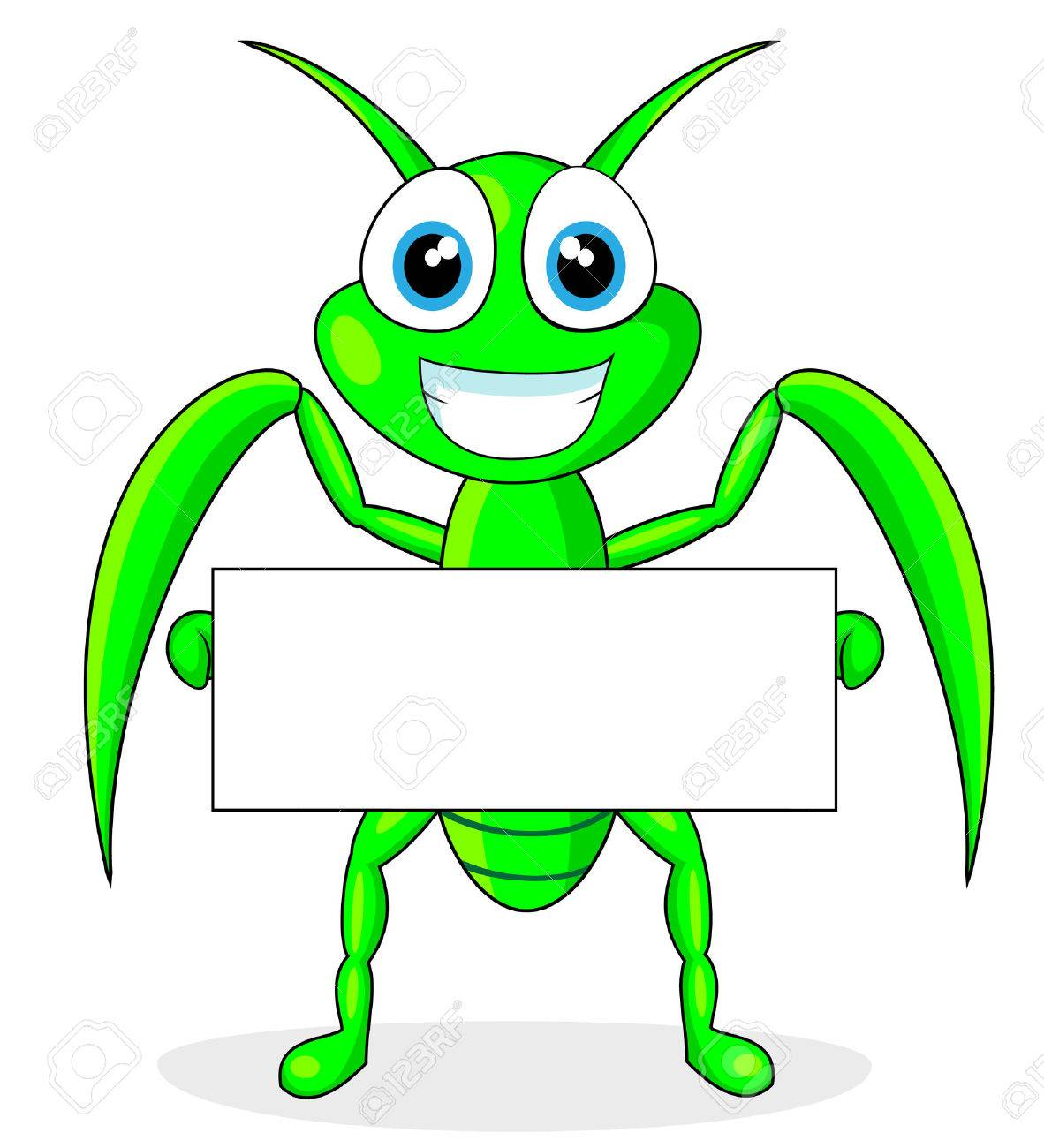 cute praying mantis holding a blank sign Stock Vector - 8523913