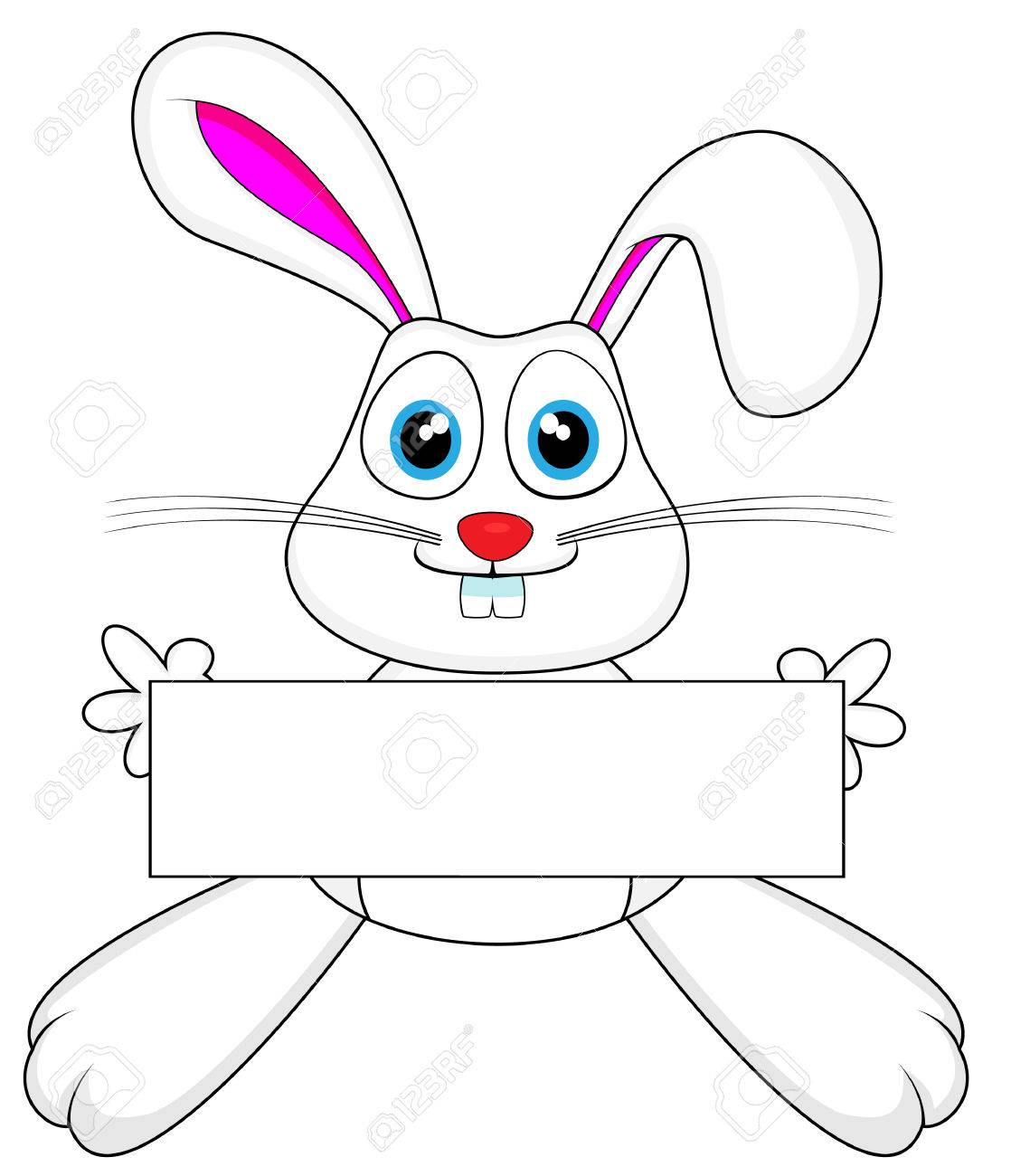 cute white bunny rabbit holding a blank sign Stock Vector - 8770713