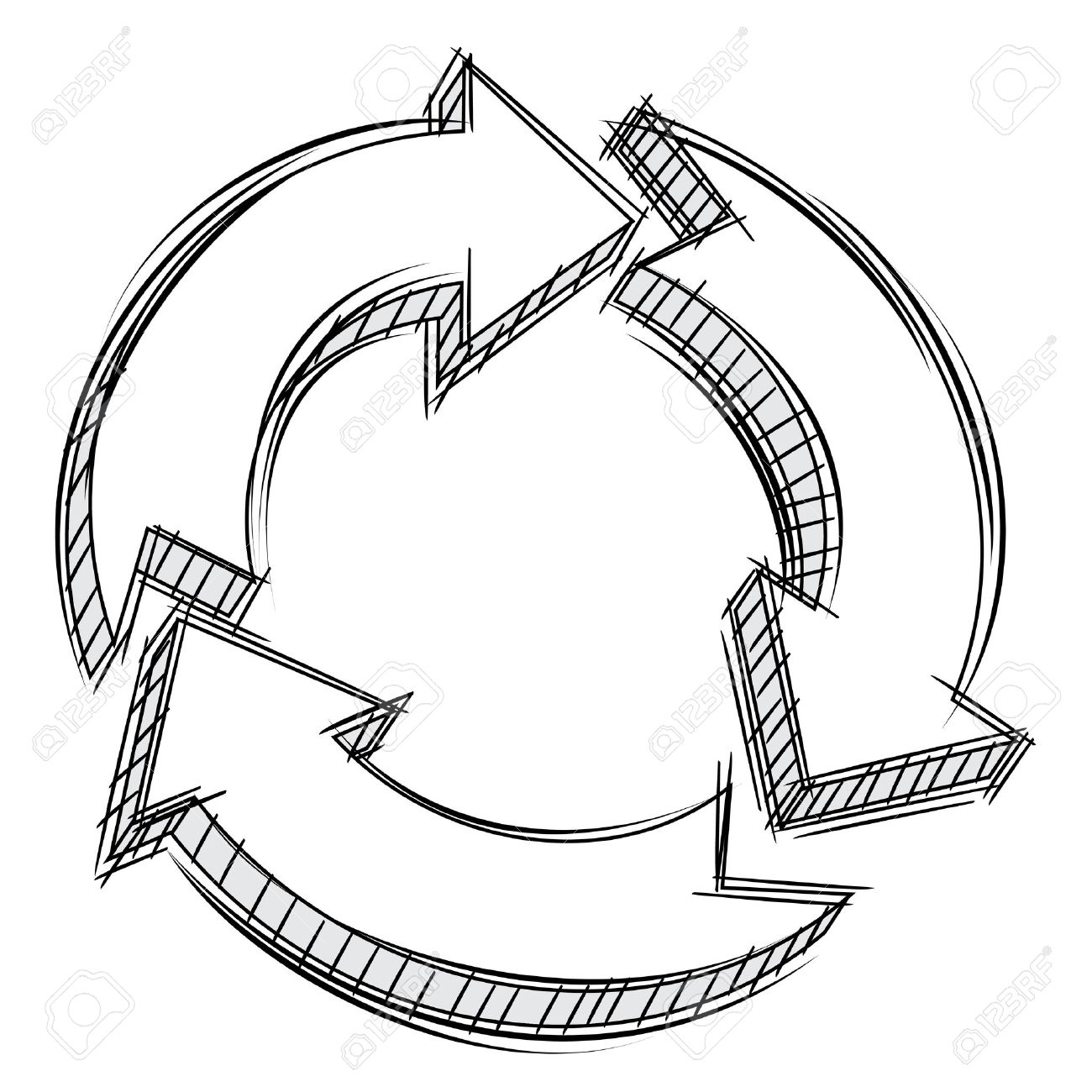 Process cycling arrow by arrow royalty free stock images image - Process Icon Doodle Of Three Circular Arrows