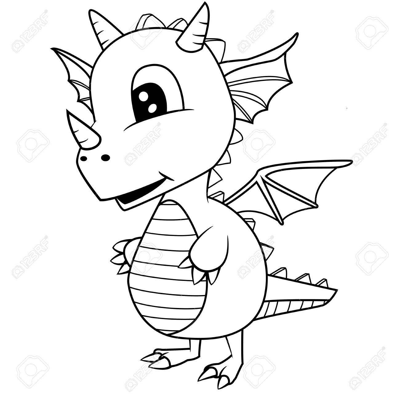 Ilustración De Lindo De Dibujos Animados Blanco Y Negro Bebé Dragon ...