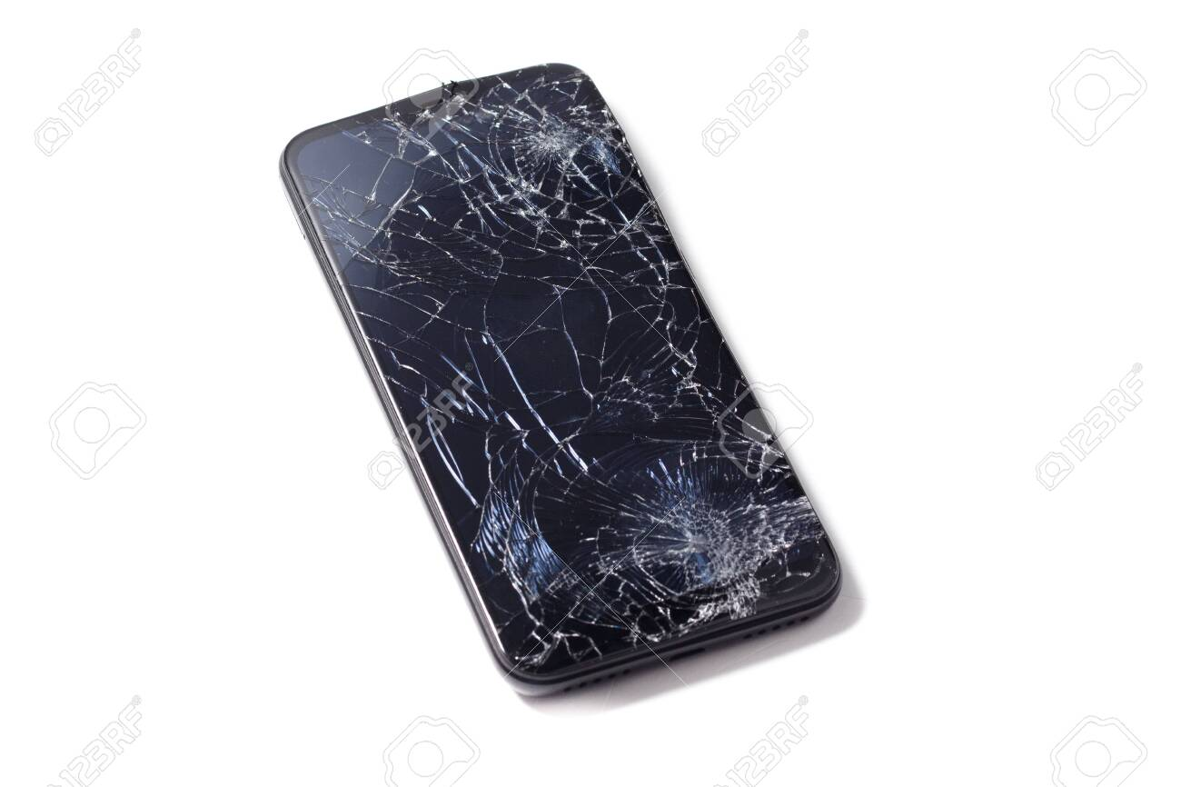Mobile smartphone with broken screen isolated on white. - 138044913