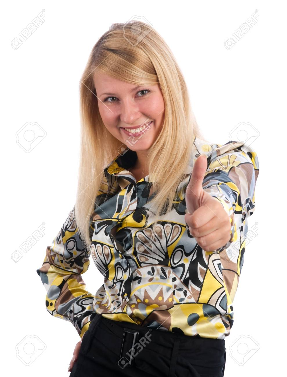 happy young lady showing thumb's up sign against isolated white background Stock Photo - 5762492